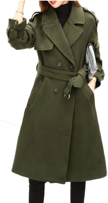 Jxfd Women Winter Double Breasted Wool Blend Long Pea Coat