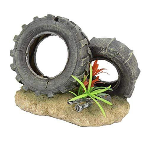 WFAANW Fish Tank Decoraciones de Resina de neumáticos Modelo del Ornamento del Acuario acuático Figurita Paisaje de la decoración