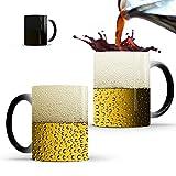 Hosoncovy Creative Beer Taza de cerámica que cambia de color con el calor, taza de café, taza sensible al calor