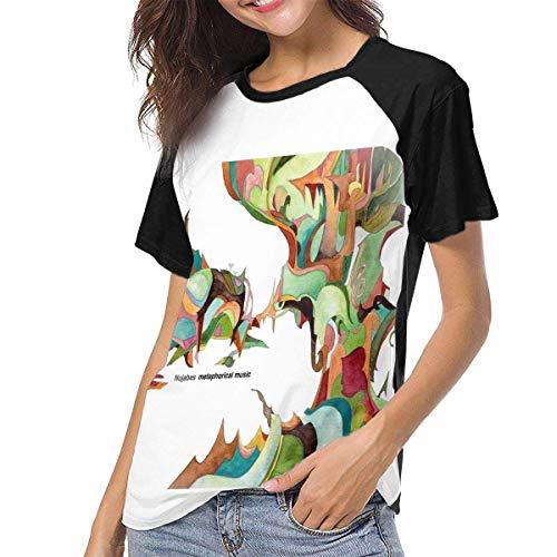 Kmehsv Damen Kurzarm T-Shirts mit Rundhalsausschnitt, Nujabes Woman Women's Baseball Short Sleeves Stylish Short Sleeve Soft T-Shirt