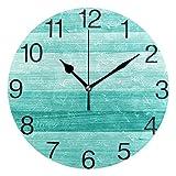 Orologio da parete rotondo in legno verde turchese verde acqua, pittura a olio silenziosa senza ticchettio decorativa per orologio da scuola per ufficio a casa Art