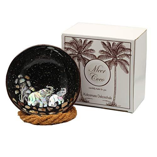 Meer Coco® Kokosnuss Schale, Mosaik Dekoschale, Ideal als Schmuck-, Schlüssel-, und Bowl Schüssel, Geschenk Set je 1 x Kokosnussschale + Schalen Halter - Elefant Design (Black)