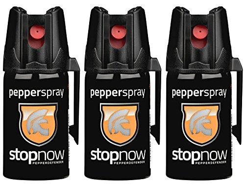 stopnow Pfefferspray Abwehrspray KO-Spray Selbstverteidigung Jet-Sprühstrahl (3 Spray - 3er Sparpack)