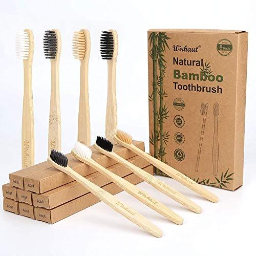 Wirhaut Cepillos de dientes de bambú, paquete de 8 cepillos de dientes de bambú orgánicos naturales y ecológicos con cepillos de dientes de cerdas veganas suaves sin BPA