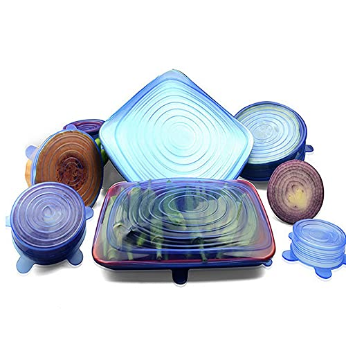 UYVBIAA Silicone Stretch Lids Pack of 6, Blue and Transparent-Washable Reusable bowl covers Fits to various Food Containers Cover Kitchen Accessories