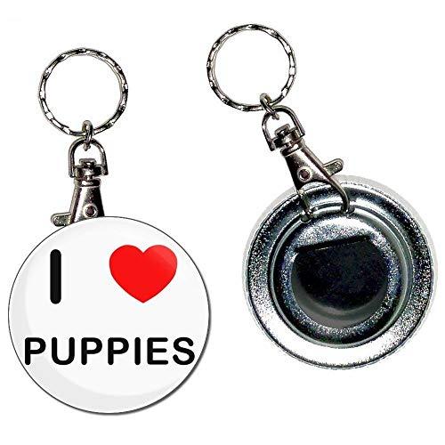 BadgeBeast.co.uk I Love Puppies - Portachiavi apribottiglie portachiavi con bottone distintivo da 55 mm