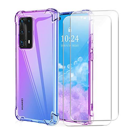 Funda para Huawei P Smart 2021 con Dos Cristal Templado Protector de Pantalla, Vistoso Suave TPU Transparente Gel Silicona Anti-caída Protectora Carcasa para Huawei P Smart 2021 (6,67 Pulgadas)