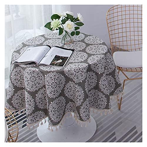 SHUTING2020 Manteles Mantel de algodón y Lino Gris Mantel Tasseles Elegantes Mesa de Comedor Impresa Cubierta de Hotel Decorativa 150 cm / 59 Pulgadas de diámetro Mantel De Restaur