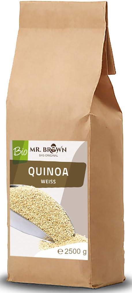 Mr. Brown Quinoa Bio, 2,5 kg, quinoa orgánica, 2500 g, 2,5 kg, de cultivo ecológico controlado, envasado en Baviera.