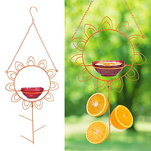 MIXXIDEA Metal Hanging Oriole Bird Feeder, Orange Fruit Oriole Jelly Bird Feeder,Jelly Container Hummingbird Feeder with Fruit Holder Removable Drink Glass Bowl for Garden Patio Outside,Flower Shape