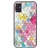 FundX Hülle für Samsung Galaxy A51 - Bunt Rosa Glitzer Schuppe Fischschuppe - Handyhülle