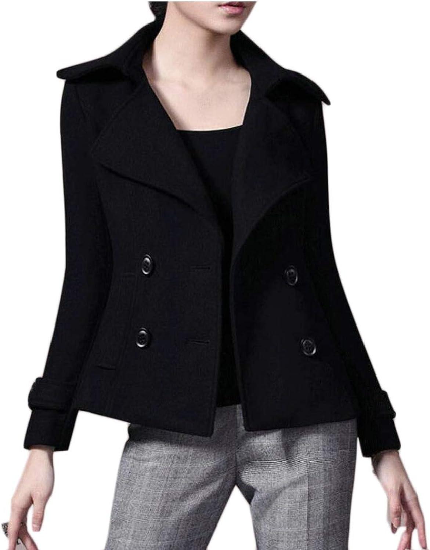 GenericWomen Winter Warm Double Breasted Wool Short Pea Coats Outwear