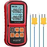 Proster -200~1372˚C Termometro Digitale a Doppio Canale con Due Termocoppie di Tipo K LCD...