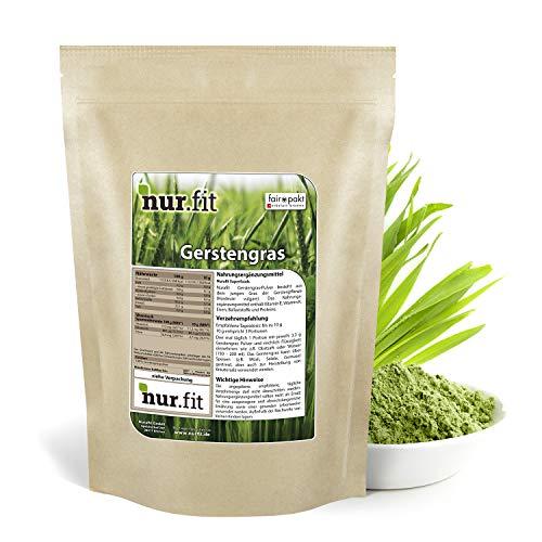nur.fit by Nurafit Gerstengras Pulver 2kg - reines Gerstengras Green-Smoothie-Pulver aus schonender Herstellung ohne Zusatzstoffe –Gerstengras in Rohkostqualität mit Vitaminen & Mineralstoffen