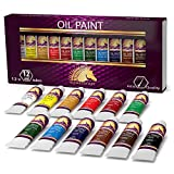 Oil Paint Set - 12 x 12ml Tubes - Lightfast - Heavy Body - Oil-based Vibrant Colors - High Pigment Load - Non-fading - Artist Quality Painting Supplies - Professional Craft Paints by MyArtscape