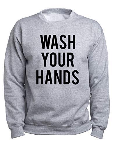 EUGINE DREAM Wash Your Hands Be Safe CoronaVirus Sweater Unisex Sudadera Gris 4XL
