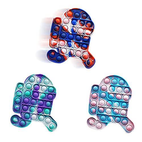 ZNNCO Fidget-Spielzeug zum Laufen, Push-Pop-Blasen, Silikon, Batik-Spielzeug, einfacher Fidget-Popper, Angst, Stressabbau, Schreibtisch-Spielzeug für Kinder und Erwachsene (Krawatte Dye A)