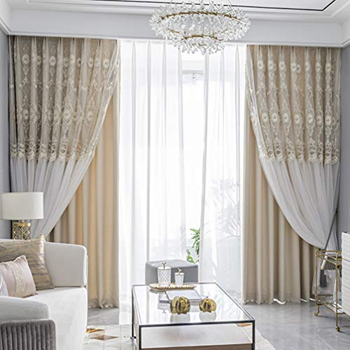 Double Layer Window Blackout Curtain,Upscale Lace Embroidery Shading Sheer Voile Curtain Set,With Tulle Overlay Drape Valance Panel,Living room Girl Bedroom Thermal Insulated Pencil Pleat curtain,1p
