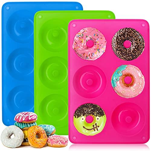 KAMEUN Juego de 3 Moldes de Silicona Donuts,6 Cavidades de Moldes Silicona Antiadherentes para Hacer Galletas, Magdalenas, Pasteles,Bagels