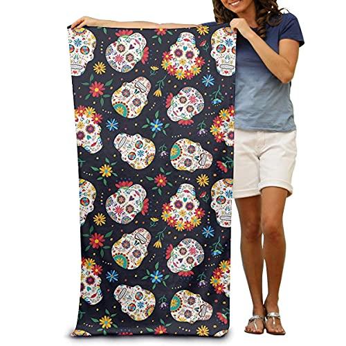 Toalla de baño unisex de calavera mexicana, súper suave, súper absorbente y de secado rápido, viajes, playa, fitness, 80 x 130 cm