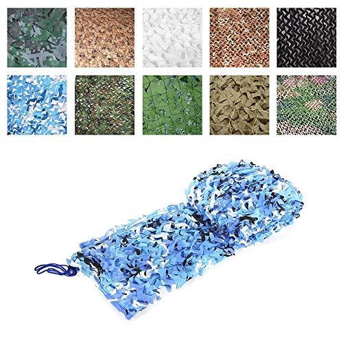 LILIJD Camouflage Net Zonnebrandcrème Net Tent Oxford Doek, Geschikt voor Kinderen Camping Leger Verborgen Jacht Schieten 2x3m Tuin, Blauw Multi-size 3x4m(10x13ft)