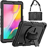 Galaxy Tab A 10.1 Case 2019 SM-T510/T515/T517 Case, SEYMAC Full Protection Rugged Shockproof Case with Screen Protector [360 Roating Stand/Hand Strap] Samsung Tab a Case 10.1 inch 2019, Black