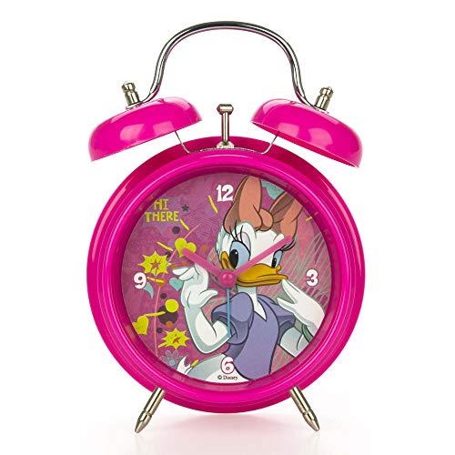 Star Disney Paperino e Paperina - Reloj Despertador de plástico (12 cm de diámetro, 17 cm de Altura, 2 Colores Surtidos)