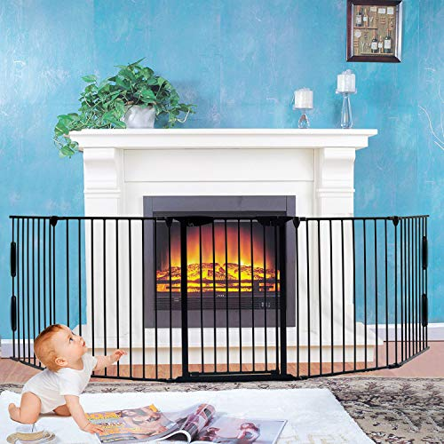 Fireplace Fence,Baby Safety Gate Fireplace Freestanding 3-in-1 Wide Adjustable 5-Panel Folding Metal Barrier- 125' Long Play Yard with Door for Indoor/Pet/Dog/Christmas Tree Enclosure,30' Tall Black