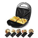 Tostapane per sandwich da 800 W, macchina per il pane per waffle 5-in-1 Macchina per bistecca per panini Macchina per la colazione per ciambelle, con piastre antiaderenti rimovibili