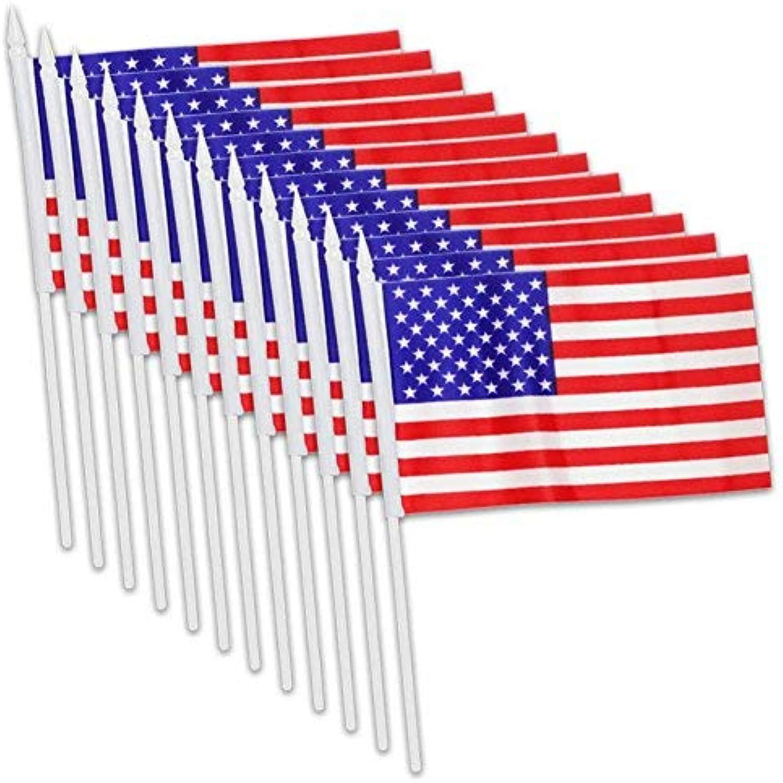 Usflags 12x Mini American U. S. US Flag on Plastic Sticks 5 X 8 Inch Miniature Small United States of America FlagsPack of 12