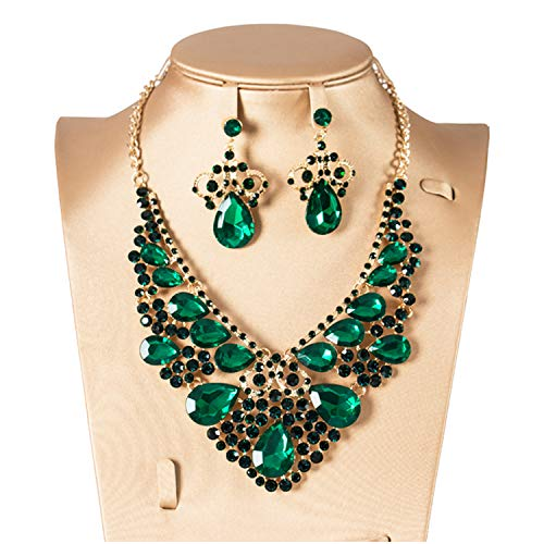 N \ A Crystal Wedding Jewelry Set, Necklace Earring Set for Women,Statement...