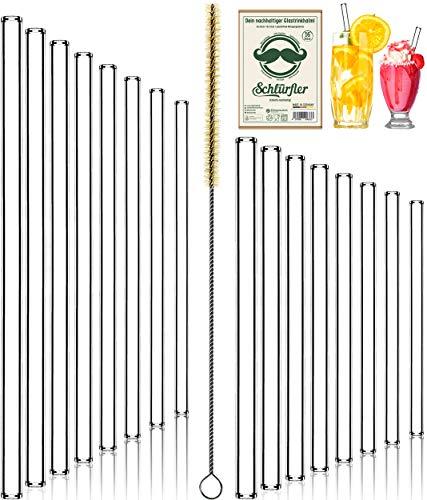 Cannucce in vetro SCHLÜRFLER (16 pezzi – 8 X 20 cm + 8 X 15 cm) con spazzola per la pulizia senza plastica, cannucce riutilizzabili in vetro estremamente robusto, 100% Made in Germany