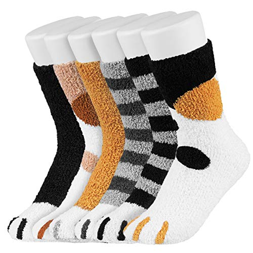 Easycosy Kuschelsocken Damen Katzenkrallen Socken Bettsocken Kuschel Flauschig Weiche Haussocken Warme Dicke Wintersocken Geschenk für Frauen Plüsch Slipper Socken 39-42 6 Paar (fleece 6 style)