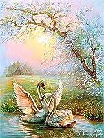 数字での動物の絵数字で白鳥の写真キャンバスに部屋の装飾フレームレスDIYデジタル 40×50cm