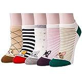 XIANOOER Calcetines cortos para Deportivas y Botines para Mujer, Socks Women Fashion Sneaker (5 pares de calcetines para gatos 1)