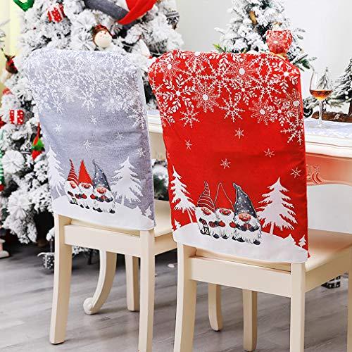 OldPAPA Weihnachten Stuhlhusse, 4 Stücke Weihnachtsstuhl Rückenabdeckung Schneemann Weihnachtsmann Hut Schonbezüge Set für Weihnachten Festliche Esstisch Stühle Dekoration Party Dekor