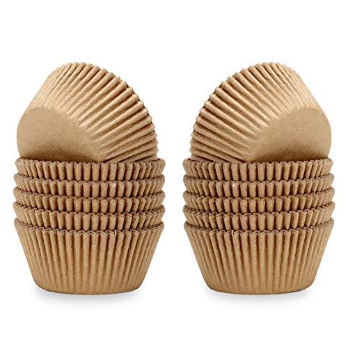 Lelekiss Natural Mini Cupcake Liners Odorless Greaseproof Paper Baking Cups 300-Count, Natural Color