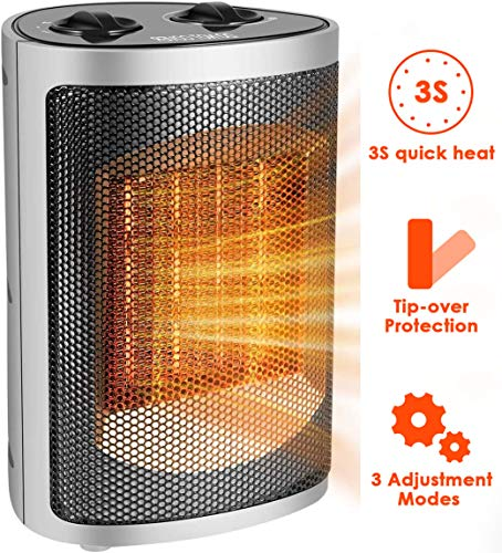 Electric Space Heater, Adjustable Thermostat and Overheat Protection Ceramic Space Heater, 750-1500 Watt Personal Heater with Carrying Handle for Desk Office Home Bedroom