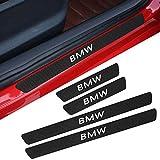 4pcs fibre de carbone anti éraflure de porte de voiture autocollant de seuil plaque de protection panneau de protection d'étape protecteur pour b-m-w 3 série 5 série x1 x3 x5 530,Blanc,46.5*3.2cm