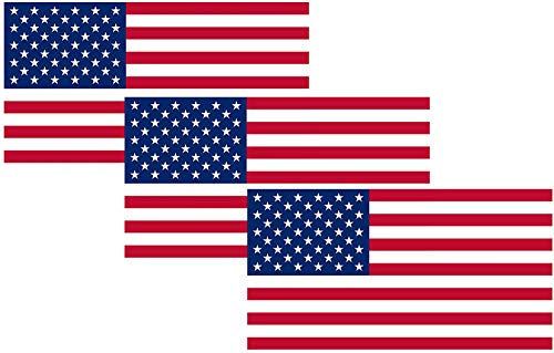 American USA Flag Sticker Patriotic Stars and Stripes United States Auto Car Decal Window Bumper US Military (3 Pack 3x5')