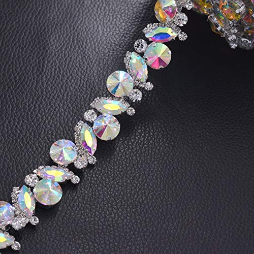 LooBooShop 1 Yard All Glass Strass Clothings Rhinestone Trims Appliques for Wedding Dress Belt sash Crystal AB Color sew on Patches