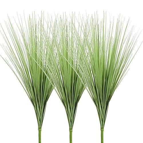 Famibay 3 Stück Künstliches Gras Grün Pflanze Kunstpflanzen Gras Kunstgras Ziergras Grasarrangement Dekogras für Zuhause Garten Balkon Draußen Innen Dekoration