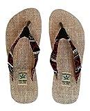 Handgemachte Flip Flops/Hausschuhe/Sandalen/Zehentrenner mit Fußbett aus natürlichem Hanf - Unisex - Made IN Nepal (45, Red Night)