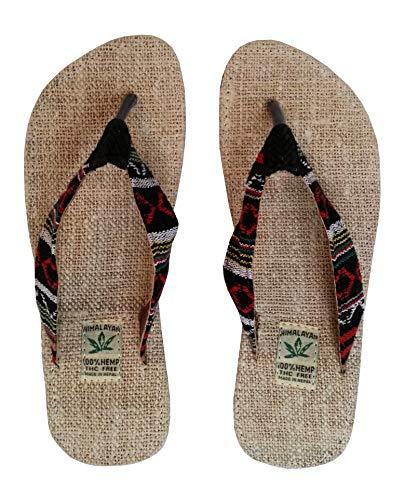 Handgemachte Flip Flops/Hausschuhe/Sandalen/Zehentrenner mit Fußbett aus natürlichem Hanf - Unisex - Made IN Nepal (38, Red Night)