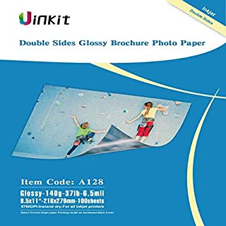 Thin Double Sided Glossy Photo Paper - 100 Sheets 8.5x11 Inches 6.5Mil 140g For Inkjet Printing Only