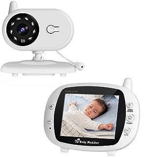 Cozime Vigilabebés Inalámbrico Bebé Monitor Inteligente Pantalla LCD 3.5 Cámara Vigilancia Bebes Visión Nocturna Intercomunicador Bidireccional Monitor de Temperatura Canciones de Cuna