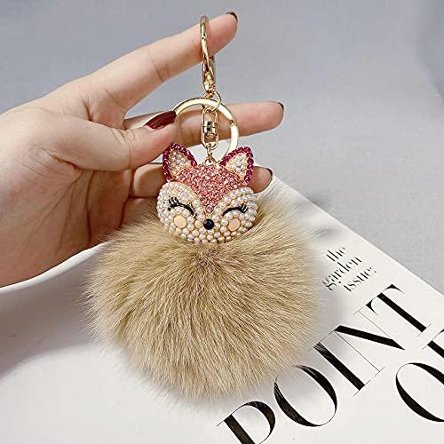 SZLGPJ Diamant Schlüsselanhänger Damen Auto Plüsch Ball Geschenk Schlüsselanhänger Rucksack Anhänger Geschenk cm Champagne(giftbox)
