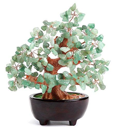 HapiLeap Árbol de Dinero, Gemas Feng Shui Adornos de árbol de Cristal curativo Figuras de árbol, ágata de geoda de Cuarzo Soporte para Oficina, Sala de Estar, decoración de Buena Suerte (Verde)