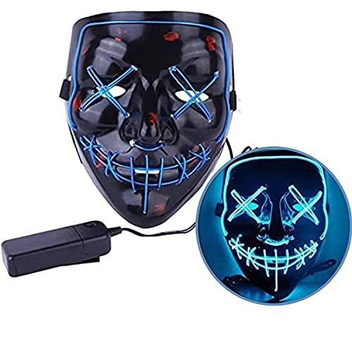 Jonami Mascara LED Halloween, Máscara la Purga LED, Máscara Facial Adulto, 3 Modos...