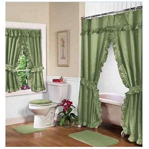 Home Fashions Sage Green Double Swag Shower And Window Curtain Set With Liner